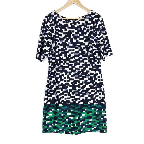 Eliza J Black White Gray Green Geometric Print Short Sleeve Zip Dress 14